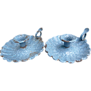 Pair Blue And White Spatterware Graniteware Candle Holders