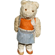 German Wind Up Dancing Bear Toy Plush Over Paper Mache