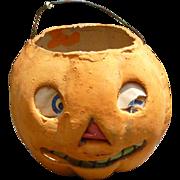 German Halloween Paper Mache Pumpkin Lantern