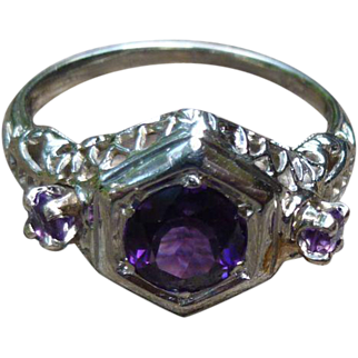 Antique 18K Amethyst Ring Surrounded By Lovely Filigree
