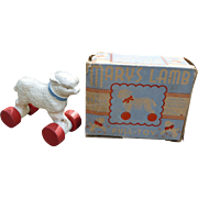 Hubley Mary's Lamb Pull Toy With Original Box