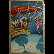 Santa American Flag Christmas Postcard