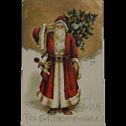 Early Santa Christmas Postcard Saluting Xmas To Greet You