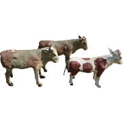 Paper Mache Putz Cows - Nativity Ark Farm