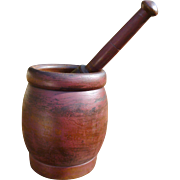 Huge Wooden Mortar And Pestle In Old Red Paint