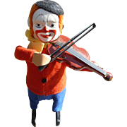 Schuco Clown Playing Violin Wind Up Toy