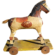 Paper Mache Horse Pull Toy