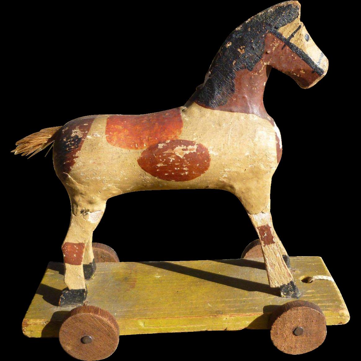 Paper mache horse pull toy amazing americana ruby lane for Paper mache furniture ideas