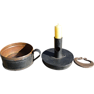 Early Tin Candle Holder Tinder Box