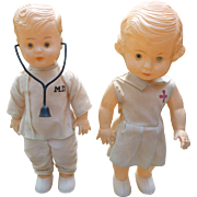 Adorable Celluloid Doctor And Nurse Dolls