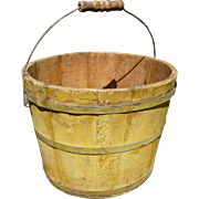 Staved Wood Bucket In Old Mustard Paint
