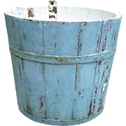 Lg Wooden Sap Bucket In Old Sky Blue Paint
