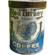 Rare Red Turkey Coffee Tin Can