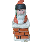 Santa In Chimney Composition Candy Container