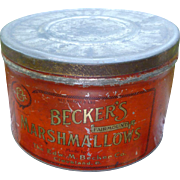 Vintage Becker's 5LB Marshmallow Tin