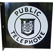 Pristine Porcleain Telephone Flange Sign