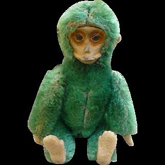 Rare Green Schuco Mohair Compact & Lipstick Monkey