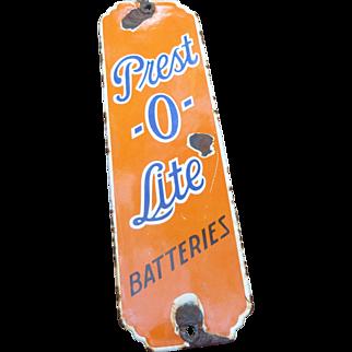 Prest-O-LIte Batteries Porcelain Advertising Door Push