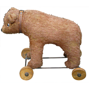 Mohair Bear On Wheels Pull Toy