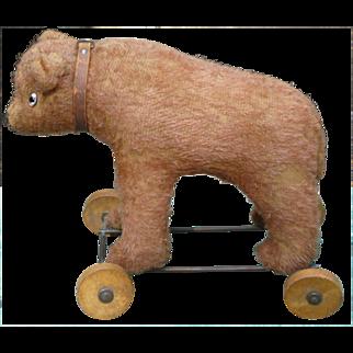 Mohair Bear On Wheels Pull Toy