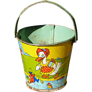 Stovers Tin Litho Candy Sand Pail
