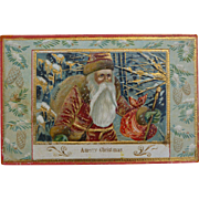 Lovely Belsnickle In Red And Gold Christmas Postcard