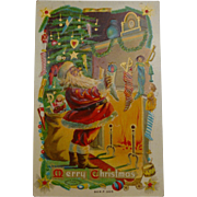 Santa By The Chimney Christmas Postcard