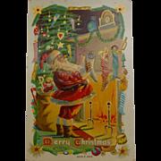 Santa By The Chimney Christmas Postcard