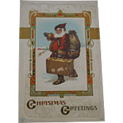 Old World Santa Hitchhiking Christmas Postcard