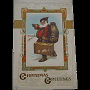 Old World Santa Hitchhiking Christmas Postcard