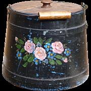 Gorgeous Tole Painted Wooden Firkin Bucket