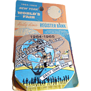 '64 New York World's Fair Dime Register Bank On Original Card