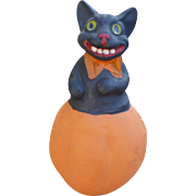 Wonderful Paper Mache Cat Halloween Candy Container