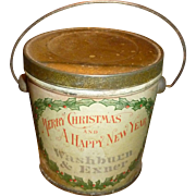 Antique Christmas Advertising Tin Candy Pail