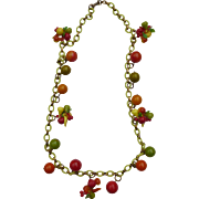 Fruit Salad And Bakelite Bead Necklace