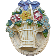 Pretty Hubley Basket Of Flowers Cast Iron Door Knocker