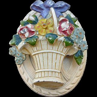 Pretty Hubley Basket Of Flowers Cast Iron Door Knocker