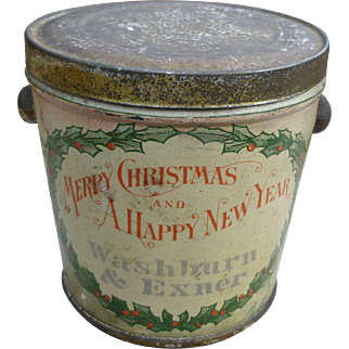 Christmas Tin Pail - Candy Container