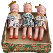 Three Bisque Japan Dolls In Original Box