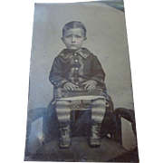 Precious Little Boy Tin Type Photograph