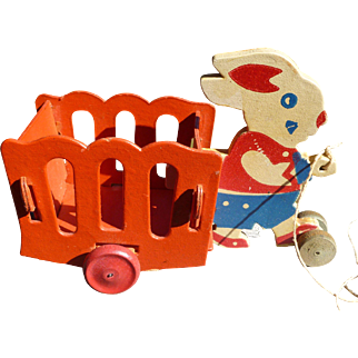 Easter Rabbit And Cart Candy Container Pull Toy