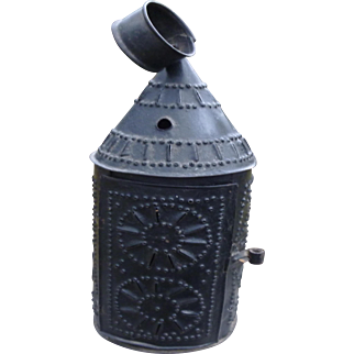 Antique Punched Tin Candle Lantern