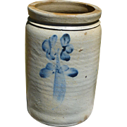 Salt Glaze Stoneware Crock With Cobalt Clovers