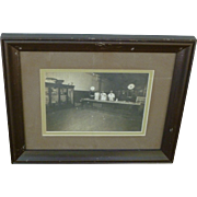 Original Turn Of The Century Butcher Shop Photograph Framed