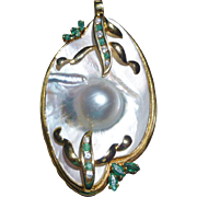Gorgeous Mabe Pearl Emerald & Diamond Pendant 14K