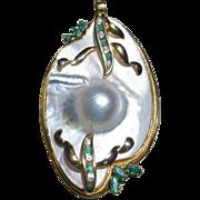 Gorgeous Mabe Pearl Emerald & Diamond Pendant 14K