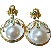 14K Mabe Pearl Earrings  With Emerald And Diamond Accents
