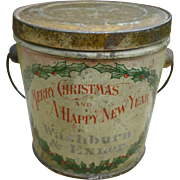 Antique Christmas Advertising Candy Pail
