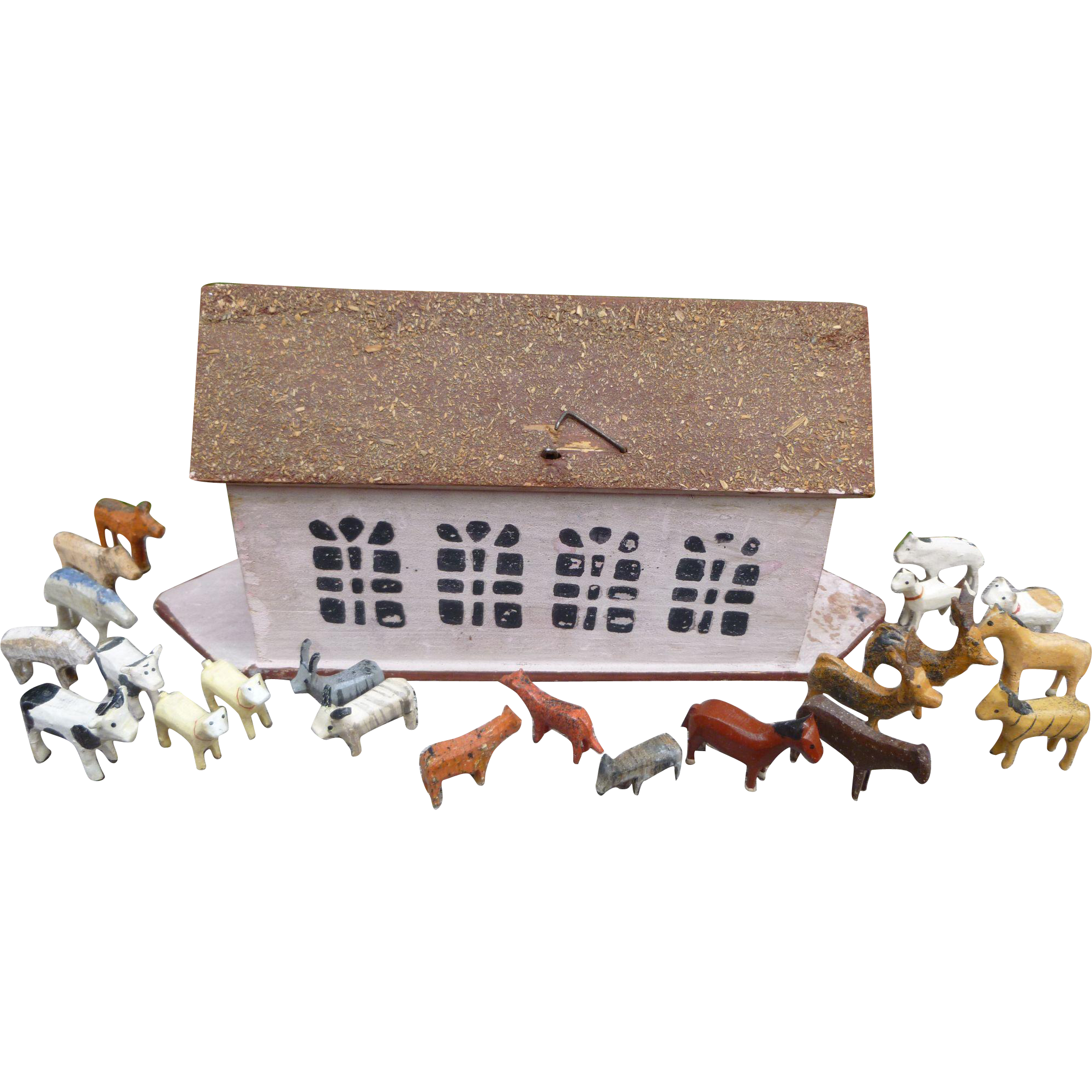 Flat Bottom Noah's Ark Toy With Carved Animals