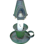 Primitive Antique Tin  Kerosene Lantern In Old Green Paint